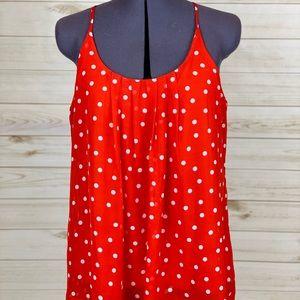Red and white polka dot chiffon tank top